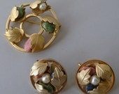 Vintage Sarah Coventry Semi Precious Earrings and  Brooch Set  FREE Shipping