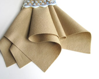 Kraft Felt Square, 100% Wool, Wool Felt Fabric, DIY Craft Supply, Nonwoven Material, Light Brown, Tan, Wool Applique, Toasted Almond
