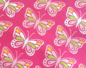 Flitter Butterfly Flannel by the Yard Robert Kaufman, Girls, Pink Fabric