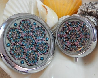 The Mirror and the Tin Collection Silver Strands Flower Compact Mirror Mint Tin Kaleidoscope Millefiori in Polymer Clay