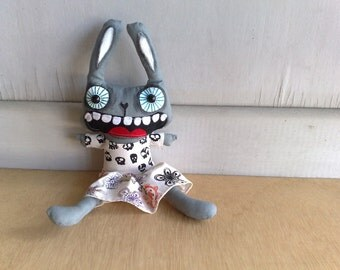 Featured in Stuffed Magazine Hand painted art doll - Lulu Belle the funny bunny