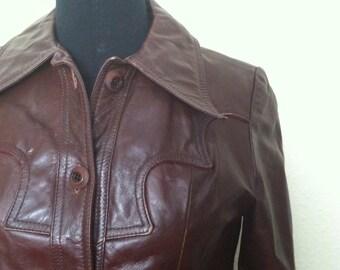 Vintage Oxblood Leather Jacket 70s Burgundy Coat size S  M