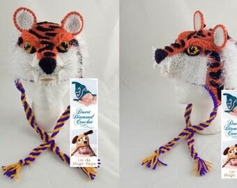 Crochet Pattern 093 - Louisiana State University Tiger Hat - All Sizes