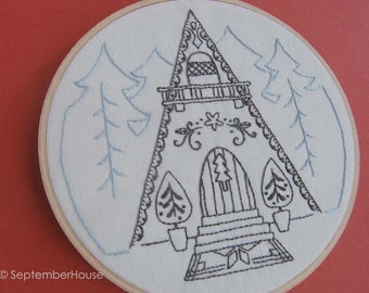 Embroidery Patterns, SNOWFLAKE CHALET hand embroidery patterns, Alpine Ski Lodge Inspired Embroidery Designs, PDF Digital Download
