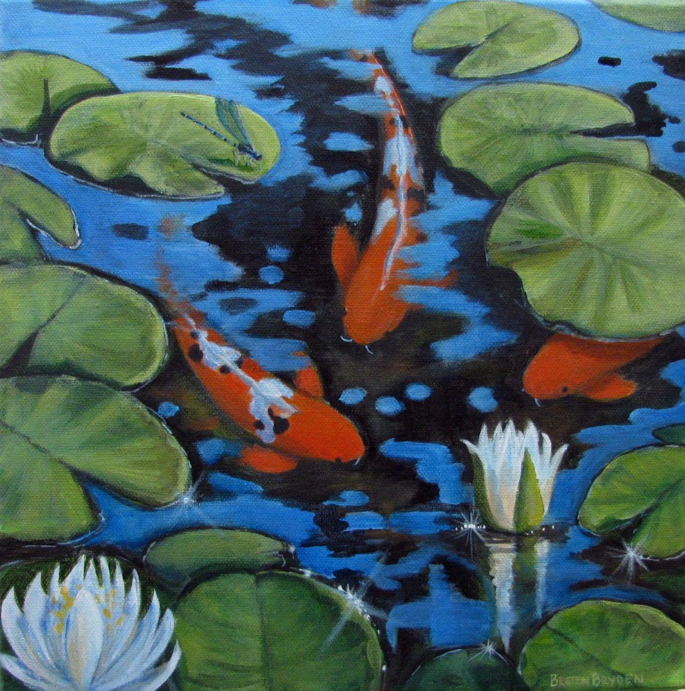 Orange koi fish pond lilies dragonfly original acrylic for Koi carp pond