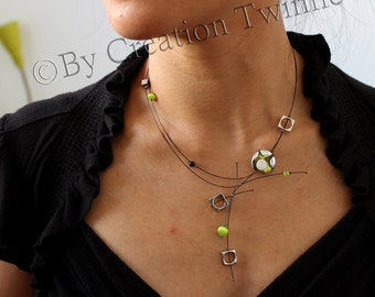 lime green necklace, modern necklace, contemporary jewelry,funky jewelry, mothers days gift, bridesmaids gift, wedding jewelry