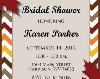 Custom Fall Leaf Chevron Bridal Shower Invitation