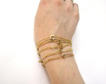 vintage gold initial stacking bracelet / alphabet letter bracelets