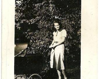 Vintage Photograph Ebony Haired Young Lady Babysitter Pushes Old Baby Pram Snapshot Photo
