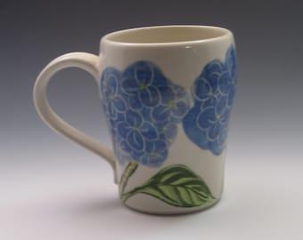 Large Porcelain Mug, handpainted in hydrangea design