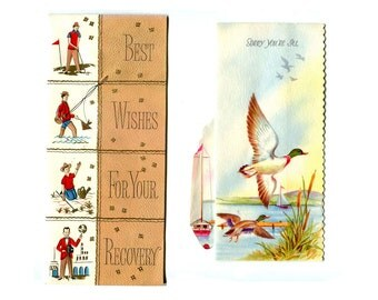 1950s 60s Mens Get Well Greeting Cards 2 Sport Theme Cards for Dad or Man Friend Ducks Golf Fishing Sailing Best Wishes Vintage Paper Brown