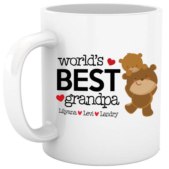 Coffee mug grandpa - world's best grandpa sweet father's day personalized mug with grandchildrens names PWBGM