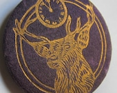 Vintage 1940s Benevolent and Protective Order of Elks Pin in Purple Cloth and Metal with Bronze Print