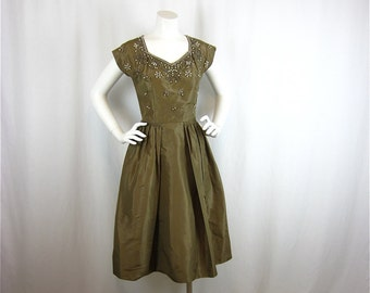 Vintage 1950s Beaded Olive Satin Dress, Sz S