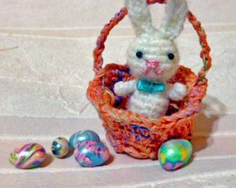 Micro Mini White Rabbit in Easter Basket