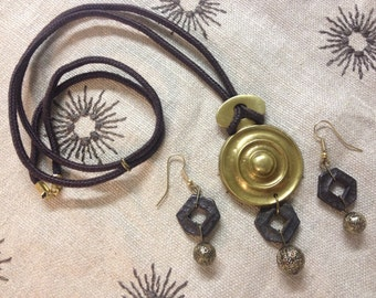 Antique HARDWARE JEWELRY Pendant SET, Brass Necklace and Earrings,Adjustable Necklace,Ooak,Valentines Day Gift,Brown Boho Jewelry Set
