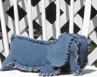 Dachshund Denim Jeans Pillow Dog Stuffed Animal Handmade Adult Toy