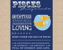 PISCES art print // Zodiac Print for kids room / nursery // N-Z04-1PS AA1