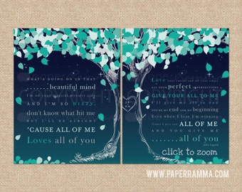 "John Legend ""All of Me"" Lyric Print Keepsake, Personalized // wedding / anniversary // Canvas or Art Print Set // W-L17-2PS HH4"