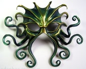 Large Cthulhu leather mask, hand-painted in midnight blue, green, and gold, Halloween