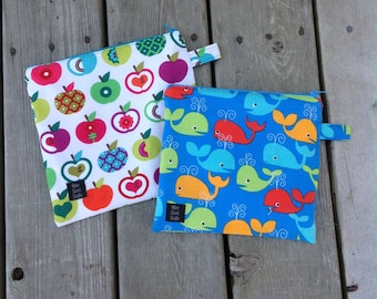 Reusable snack bag sandwich bag wet bag