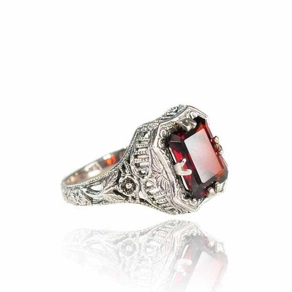 Antique Sterling Silver Filigree Garnet Ring Engagement Ring