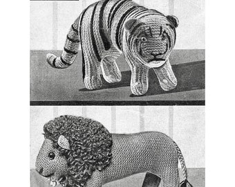 Lion and Tiger. Vintage Knitted Toy. Digital Pattern