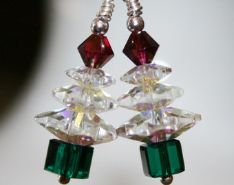 sparkling Swarovski crystal Cristmas tree earrings in your choice of color