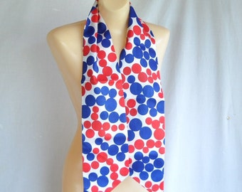 Vintage Scarf 1960s Scarf Fashion Polka Dots Red White and Blue Summer Fashion 4th of July
