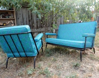 mid century loveseat and matching chair wrought iron black 50s mid century modern furniture 50s modern furniture chicago