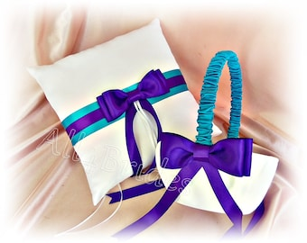 Ring bearer pillow and flower girl basket - regency purple and turquoise satin pillow and basket - wedding ceremony accessories