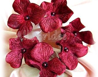 Velvet Burgundy Hydrange Hair Pins, Bridal or Bridesmaids Hair Flowers, Set of Six Hair Pins