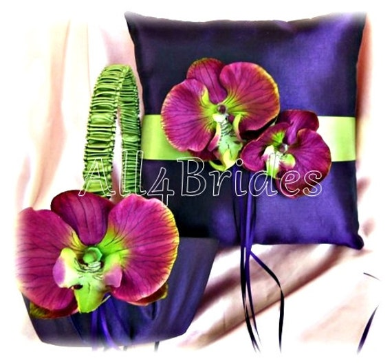 Deep purple plum and green weddings ring pillow and flower girl basket with plum and green orchids, wedding ceremony accessories