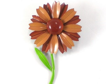 Enamel Flower Brooch Pin - Brown Fall Autumn Brooch -Summer Spring Accessories  - Vintage Jewelry - Retro Flower