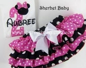 Handmade SET 4 Ruffle Classic Style Sassy Pants Ruffle Diaper Cover Applique Minnie Mouse Baby Toddler Girl