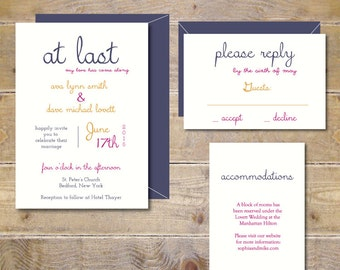 Wedding Invitations . Wedding Invites. Modern Wedding Invitations . Rustic Wedding . Gold Wedding  - At Last