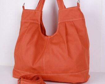 Messenger Bag, Shoulder Bag,Tote Bag,Orange canvas with Cream lining ,adjustable strap