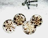 Hardware FLOWER Pulls Knobs Handles vintage metal shabby white brass