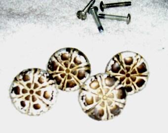 Pulls Knobs Handles Vintage Hardware door drawer shabby white brass flower 4