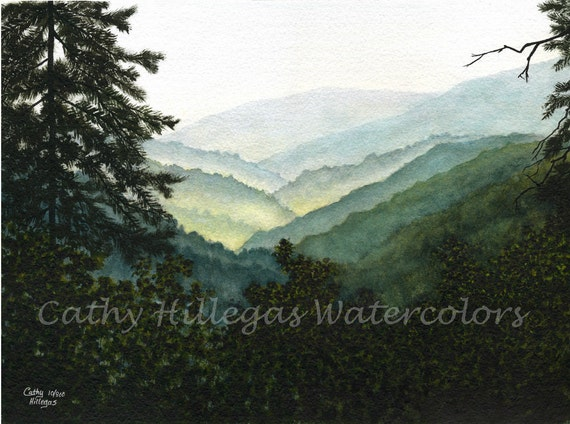 Smoky Mountains, watercolor painting print  by Cathy Hillegas, watercolor landscape, mist, green,teal, blue, yellow, black