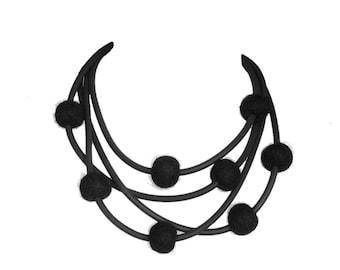 black felt necklace,  modern rubber jewellery by frank ideas