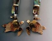 Sea Turtle Earrings with Abalone, Pearl, Pearl Shell, 14kt Gold Filled and Forged Brass