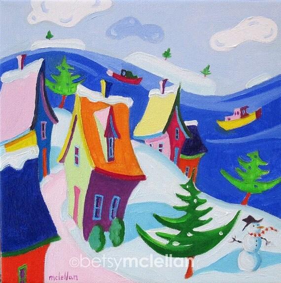 Whimsical Winter Landscape - Coastal Cottages - Paper - Canvas - Wood Block - Giclee Print