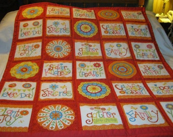 Handmade Baby Cheerful and Family Sweet Sayings Cotton Baby/Toddler, or Lap Quilt- Newly Made