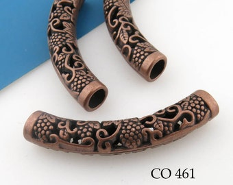 50mm Large Curved Antique Copper Tube Bead Grape Clusters Engraved Tube Bead (CO 461) 1 pc BlueEchoBeads