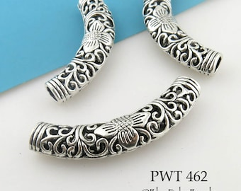 Large Curved Pewter Tube Bead Flower Engraved Tube Bead 55mm (PWT 462) 1 pc BlueEchoBeads