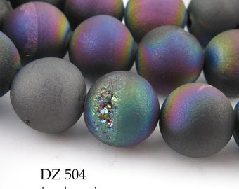 Purple Rainbow Druzy Agate Geode 10mm Beads Matte Purple Rainbow (DZ 504) 18 pcs