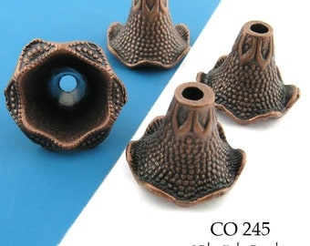 Large 23mm Antique Copper Ruffled Edge Cone Bead Cap (CO 245) 4 pcs BlueEchoBeads