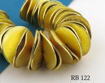 Gold Tone 18mm Large Potato Chip Beads Wavy Disk, Brushed Gold, Corn Flake Beads, Full Strand (RB 122) 42 pcs BlueEchoBeads