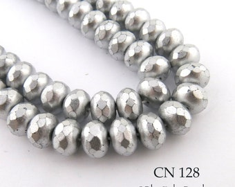 9mm Matte Silver Tone Czech Faceted Rondelle Glass Beads (CN 128) 12pcs BlueEchoBeads